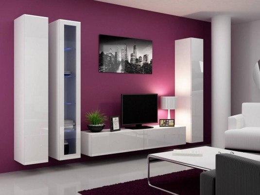living room-purple walls