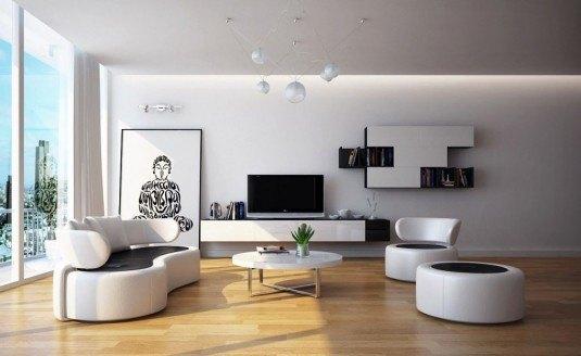 living room-white and black