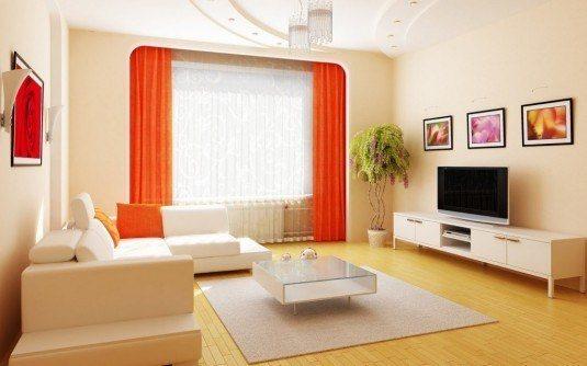 living room-white and orange