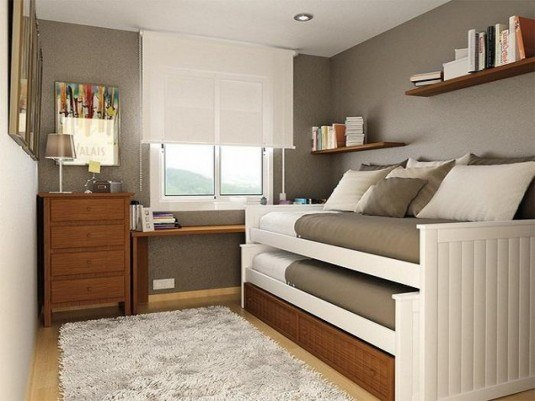 small bedroom-brown and white