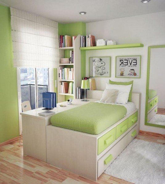 small bedroom-green and white
