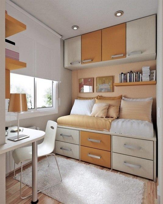 small bedroom-orange