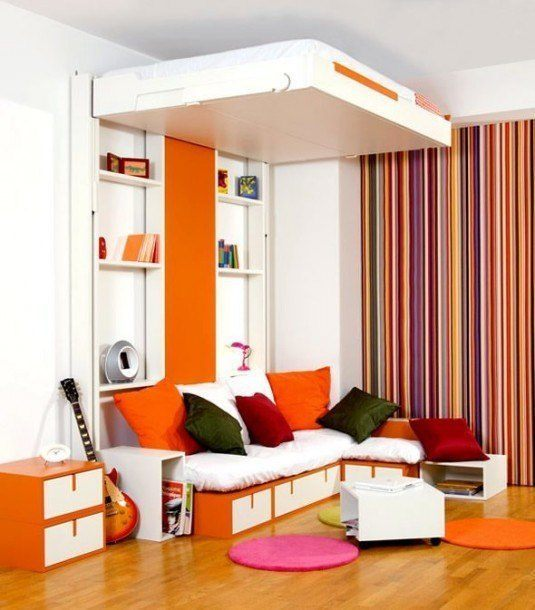 small bedroom-orange and white
