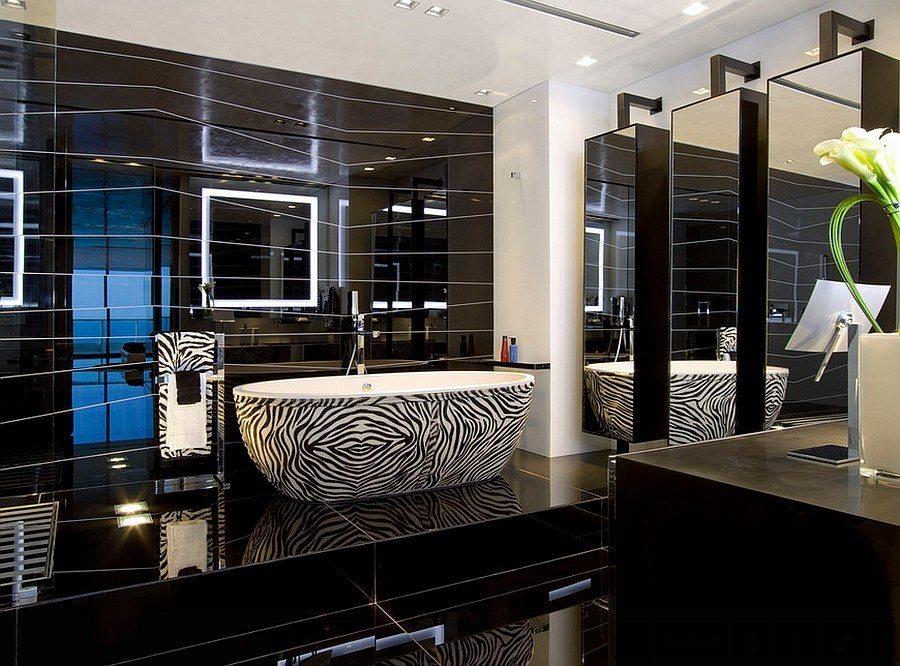 Черно белая ванная комната фото, дизайн интерьера