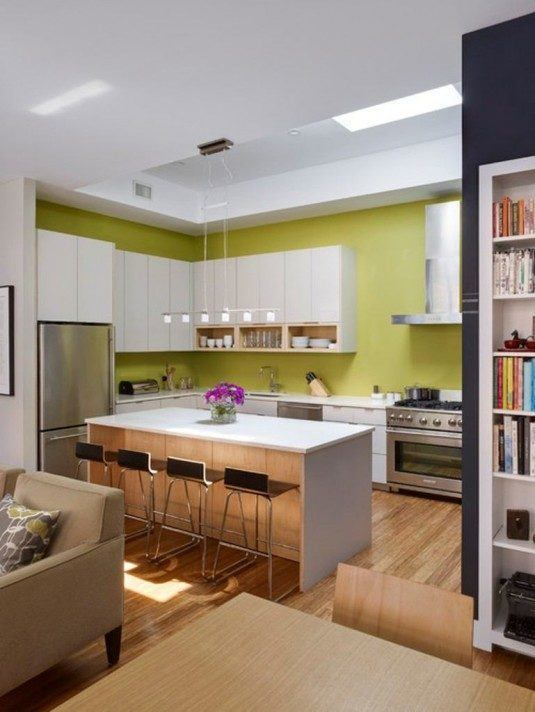 Bright-White-Bar-Kitchen-Style-with-Four-Bar-Stools-and-Unique-Pendant-Lamp-and-kitchenaid-refrigerator-side-by-side