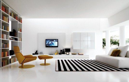 Enchanting-Sitting-Space-with-Brown-Chair-and-Low-White-Sofa-on-Black-and-White-Carpets-Interior-Design-and-White-Flooring