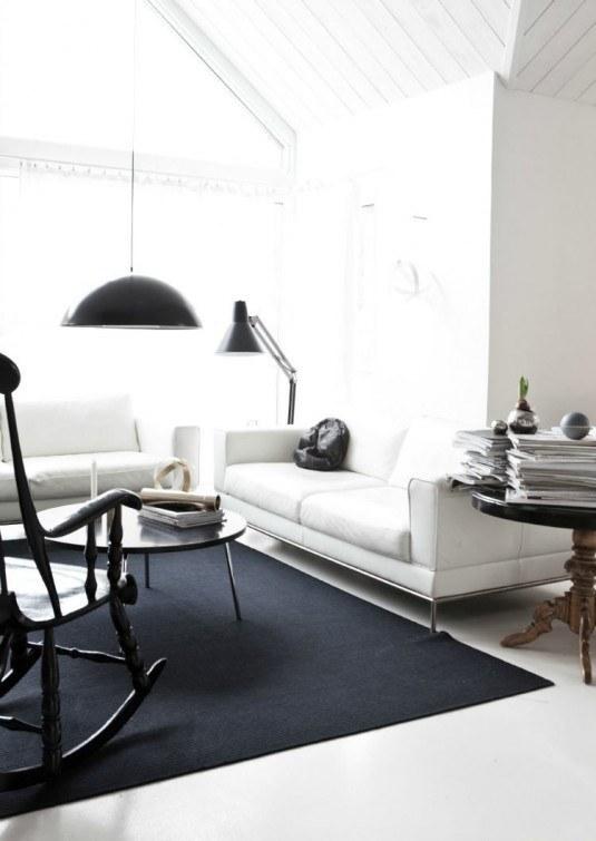 anna leenas hem blog black white living room whitel leather sofa black rug pendant light interior design decor decorate decorating ideas cococozy