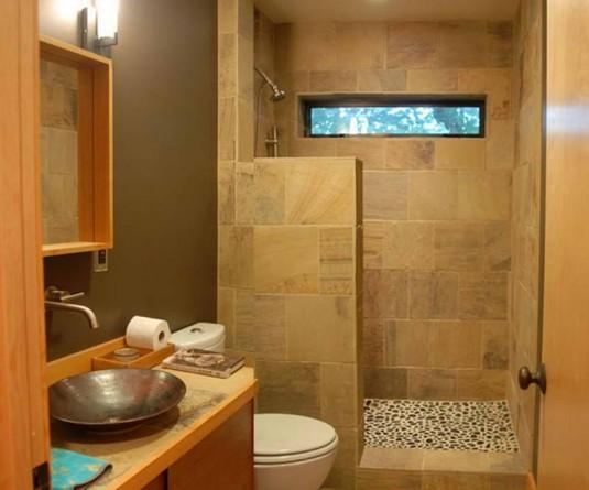 bathroom-wood and stone