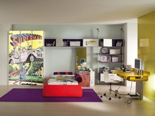 bedroom-stylish-boys-room-with-superman-theme-and-small-study-desk-with-computer-and-purple-rug-36-cool-bedroom-designs-for-guys-paint-color-for-the-room-ikea-cool-idea-for-boy-bedroom