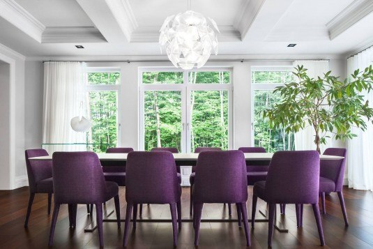 best-design-idea-purple-chairs-white-table-dining-room