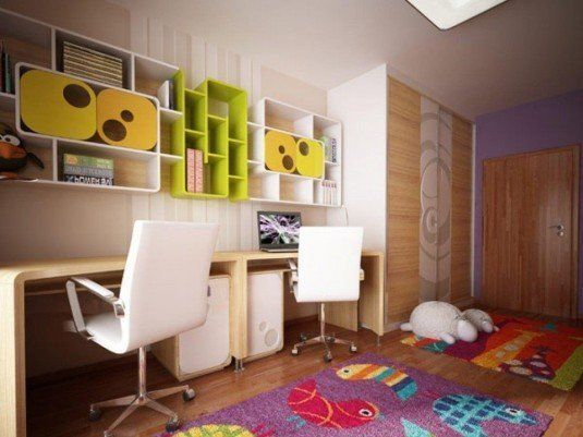 enchanting-bedroom-design-ideas-with-green-library-kids-bedroom-purple-carpet-brown-wooden-laminate-flooring-brown-white-modern-study-chair-wooden-desk-1024x768