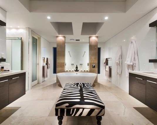 luxury-beach-style-bathroom-with-zebra-print-bathroom-ideas-using-white-wall-and-ceiling-also-floating-vanity-and-modern-bathroom-lighting