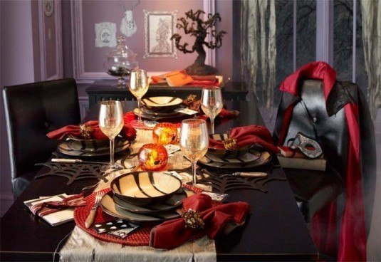 Inspiring-DiningTable-Decoration-for-Halloween-Party-with-Black-Dining-Table-and-Chairs-Dracula-Costume-and-Spiderweb-Placemats