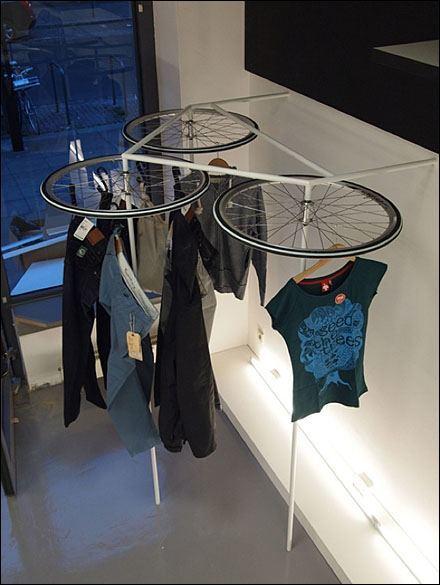 bike wheel clothes rack