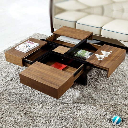 coffee tabl with 4 hidden drawers