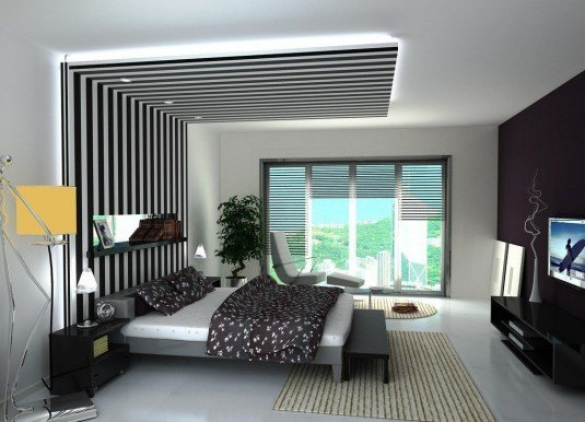 contemporary-bedroom-lights-with-POP-ceiling-decor