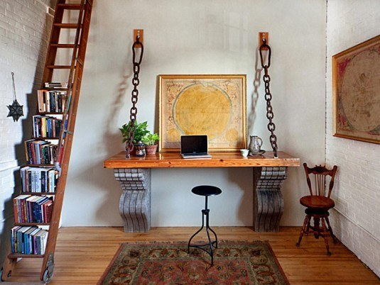 interior-furniture-rustic-brown-stained-oak-wood-floor-to-ceiling-ladder-bookcase-with-wheels-stair-bookcase