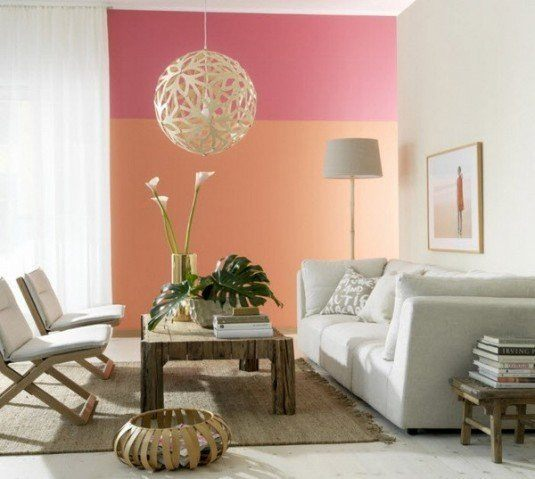 white wood floor pink and orange wall skona hem