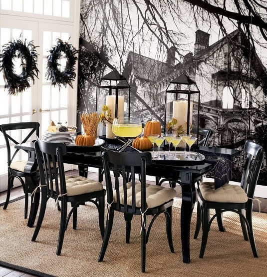wonderful-black-interior-decor-for-halloween-dining-room-plus-spooky-house-wallpaper-as-well-as-side-chair-and-orange-pumpkins