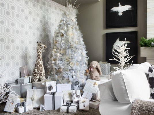 2013 Holiday House features an eight-foot-tall artificial tree completely decorated in shades of white, cream, dove gray and silver.
