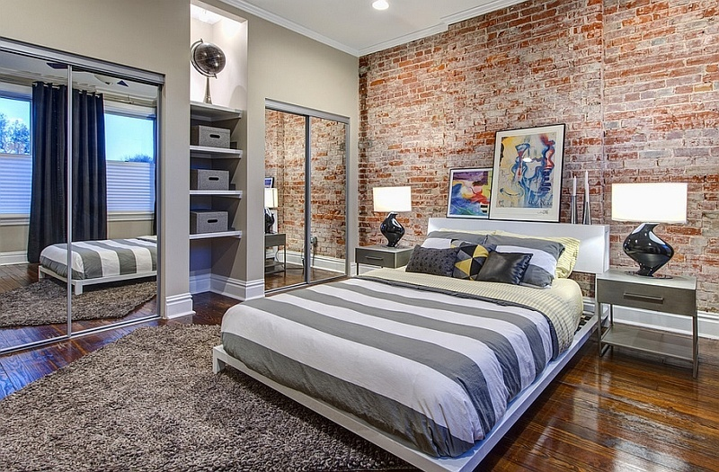 beautiful use of the brick accent wall in