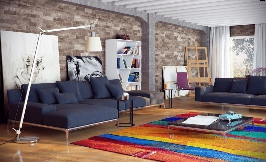 Brick-Wall-City-Loft-Contemporary-Living-Room-with-Cozy-Blue-Sofa-and-Colorful-Rug