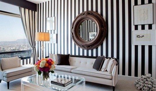 Contemproary-Black-and-White-Striped-Walls-Design