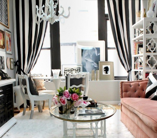 Good-Interior-Design-and-Beautiful-Stylish-Delightful-Living-Room-Gray-Black-White-Pink-Feminine-Striped-Drapes-Feminine-Office-Design-Ideas-Office-Drapes-Design-Ideas