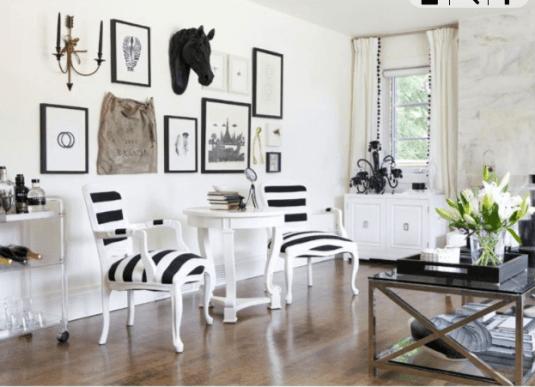black and whote living room_sala preto e branco 2