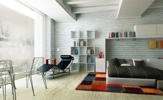 brickwall-decor-comfortable-bedroom-design-with-colorful-rug