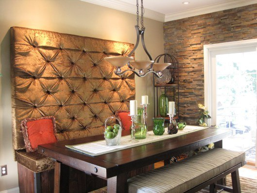 dining room tufted wall
