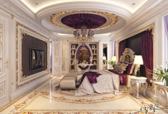 elegant-purple-satin-room-decor
