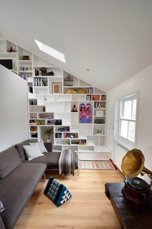 foxy-white-loft-storage-staircase-with-gray-sofa-and-shelf-under-stairs-unique-and-creative-stair-design-that-feature-space-saving-ideas-space-saving