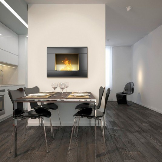 stylish-dining-room-decoration-set-wit-stainless-steel-oversize-dining-table-with-black-fiber-glass-chairs-and-white-wall-platform-with-floating-square-contemporary-ventless-gas-fireplace-ideas-contem