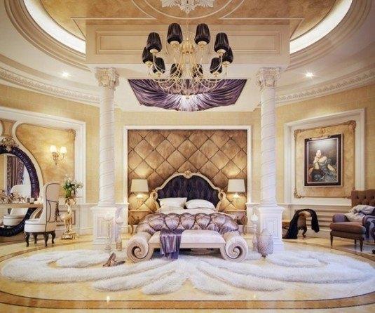 unique-master-bedroom-large-round-chandelier-white-carpet-purple-accents