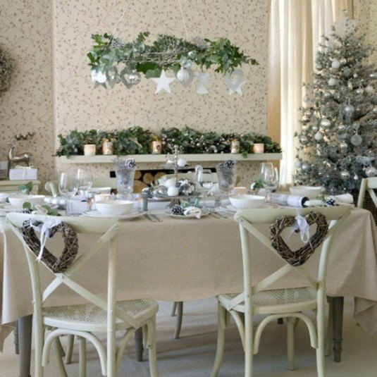 30-Excellent-Green-Christmas-Decorations-With-white-dining-table-and-chair-and-Christmas-ornament