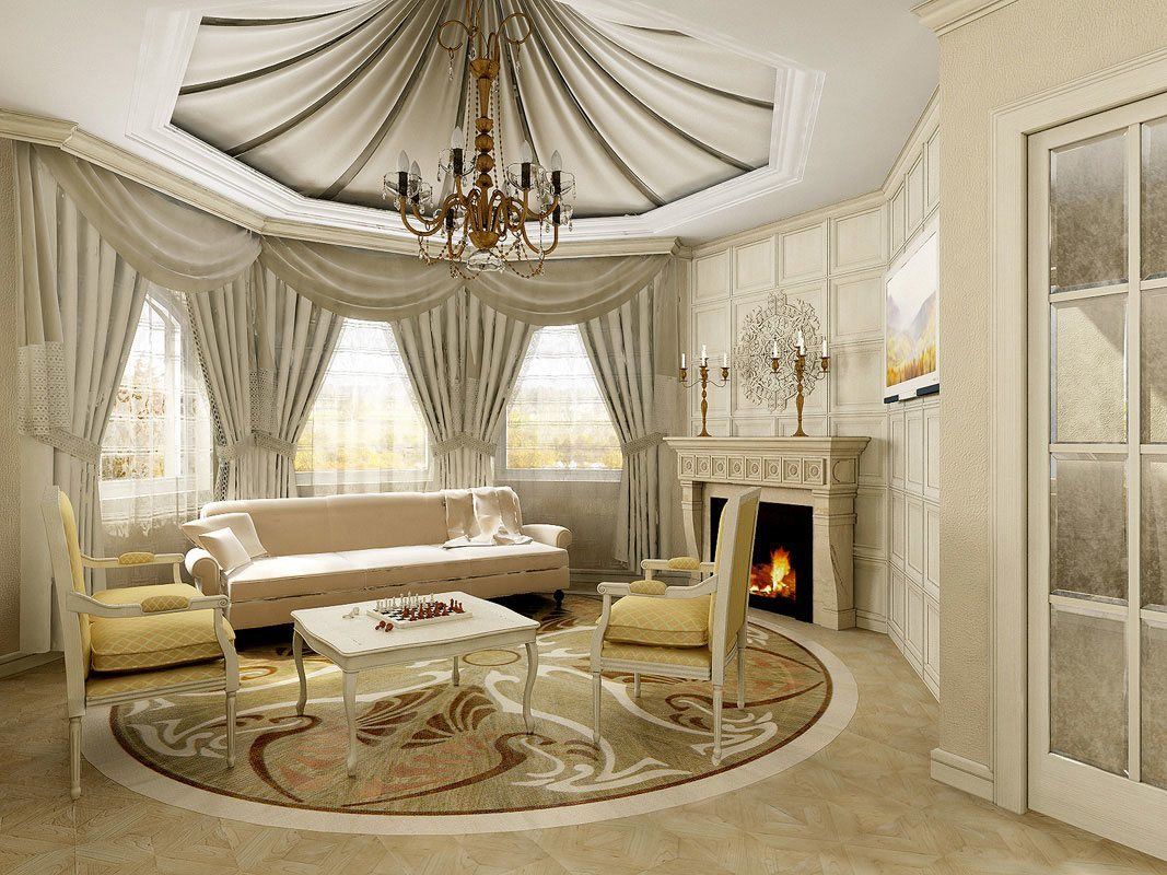 Cool-Round-Living-Room-Design-with-White-Sofa- & Amazing Round Living Room Designs That Will Impress You
