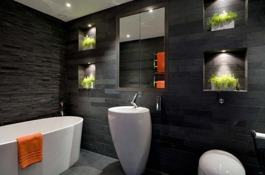 Illuminated-nooks-for-natural-greenery-in-the-dark-bathroom