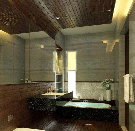 minimalist-bathroom-design-with-wooden-roof-and-floor