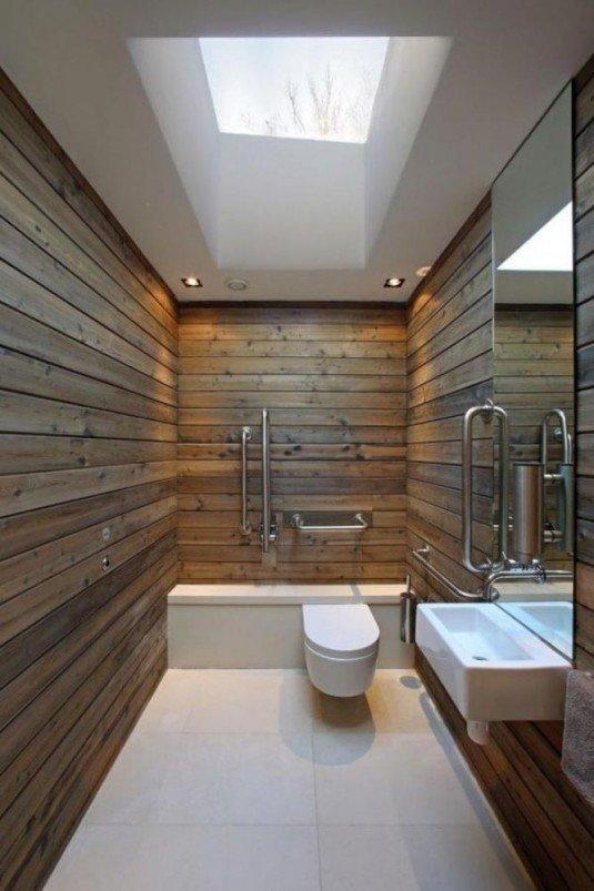 outstanding-bathroom-design-with-ebony-wood-wall-minimalist-sink-vanity-and-glass-roof