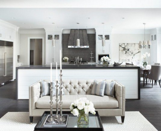 unwiderstehlich-black-tufted-living-room-sofa-transitional-with-spacious-room-and-kitchen-table-585x475