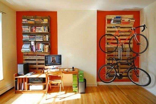 bike rack and bookshelf