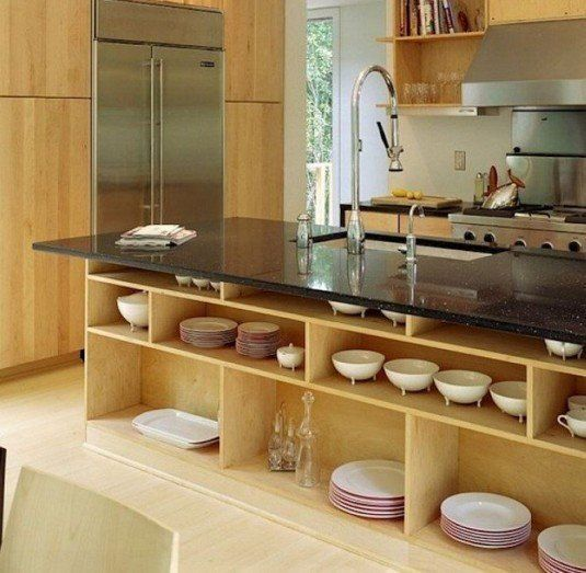bottom-open-shelving-kitchen-for-modern-design-with-black-granite-countertop-island-and-sink-faucets-ideas