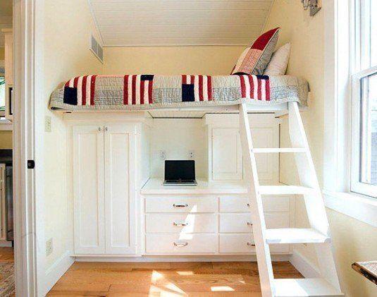 spacious-white-wooden-storages-design-plus-small-computer-desk-under-creative-loft-bed-and-wood-tile-floor