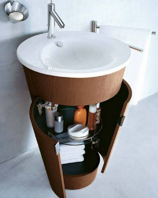 Unique Wooden Cabinet And Simply Round Sink Throughout Small Apartment Bathroom Storage Ideas Intended For Property - CoverageHD.com