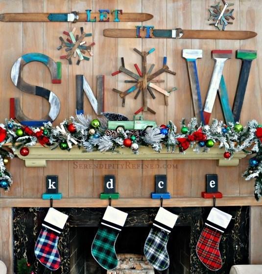 Rustic Ski Lodge Holiday Christmas Winter Mantel Vintage Colorful Plaid