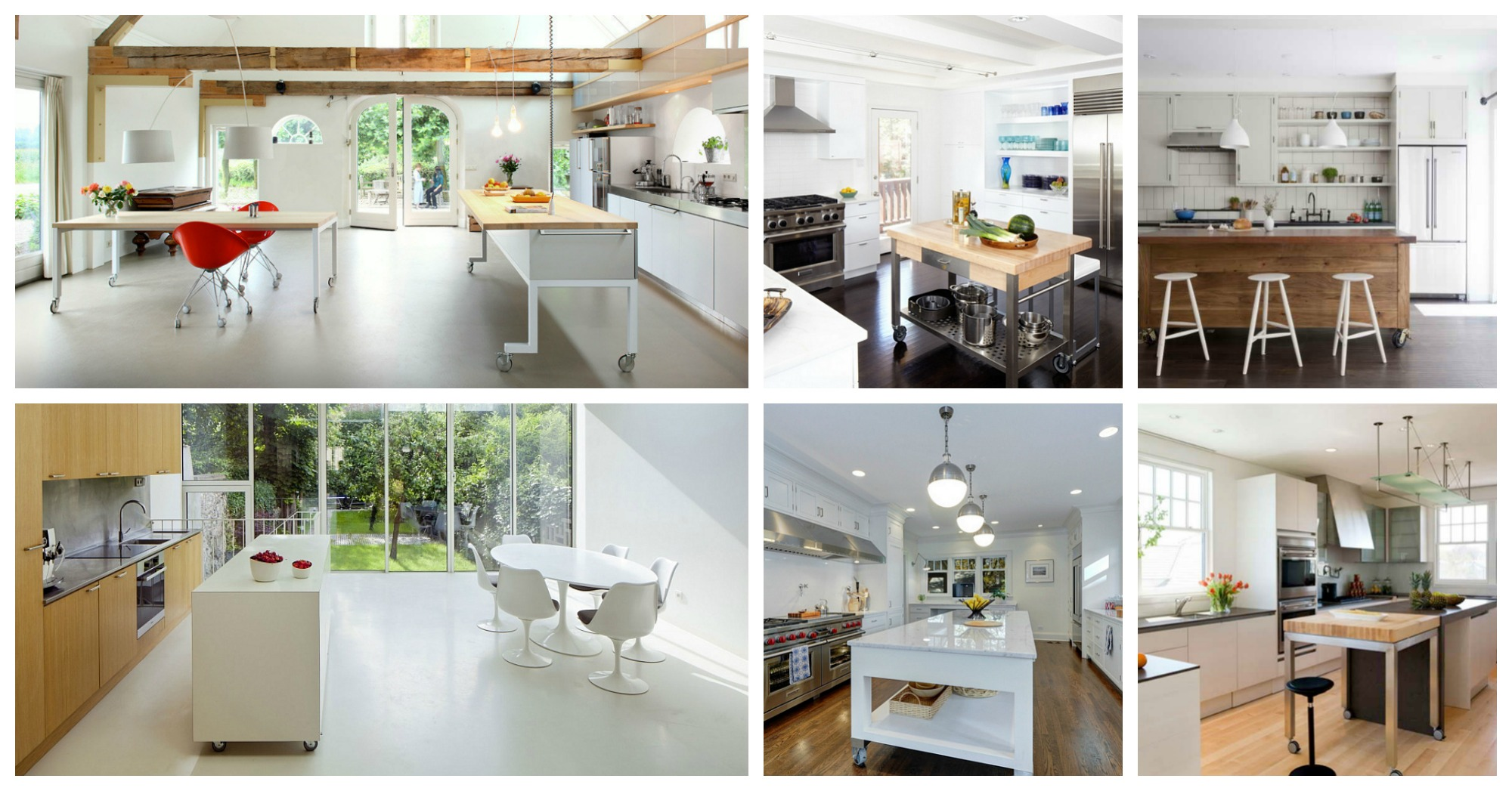 Functional Kitchen Islands On Casters That Can Be Moved Around