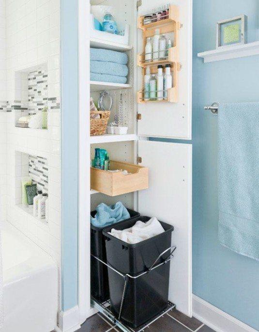 small-bathroom-storage-ideas-with-hiden-bathroom-cabinet-besides-wall-mounted-towel-warmer-on-blue-color-paint-bathroom-wall-ideas