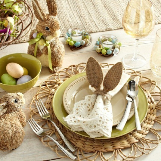 easter-decorations-table-linen-sisal-table-runners-coasters-table-mats-easter-bunny-easter-eggs
