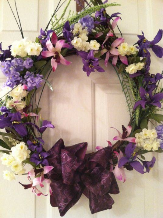 wedding wreath summer wreath easter wreath mothers day wreath grapevine wreath purple floral traditi-f86496